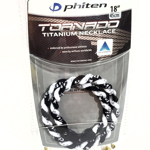 "Pink and White Phiten Tornado Titanium Necklace 20/"""
